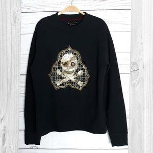 Edward Dada Black Sequin Embroidered Sweatshirt